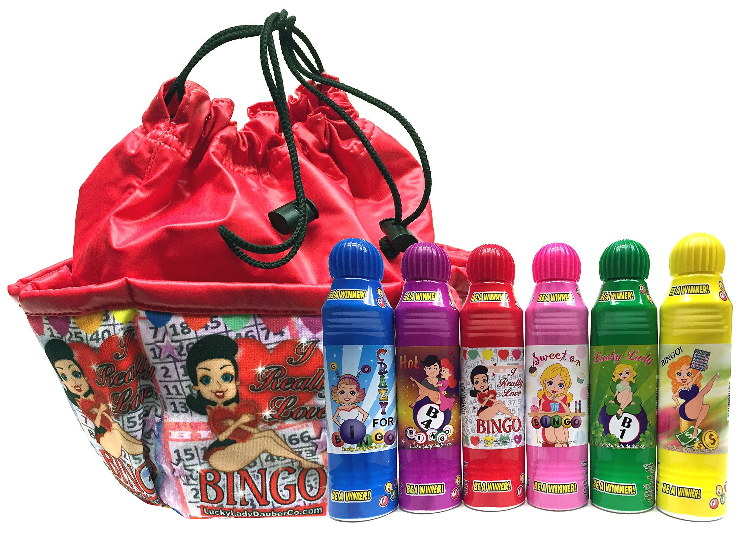 Lucky Lady Bingo Daubers 6-Pack with ''I Really Love Bingo'' Bag!