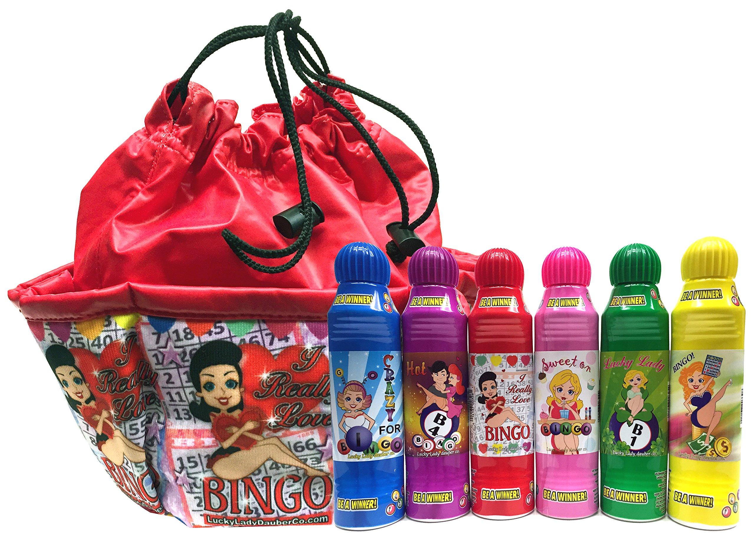 Lucky Lady Bingo Daubers 6-Pack with ''I Really Love Bingo'' Bag!