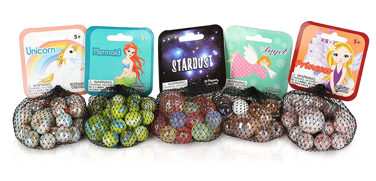 Mega Marbles Fantasy Pack 1 Shooter 24 Players Troll Mermaid Princess Stardust