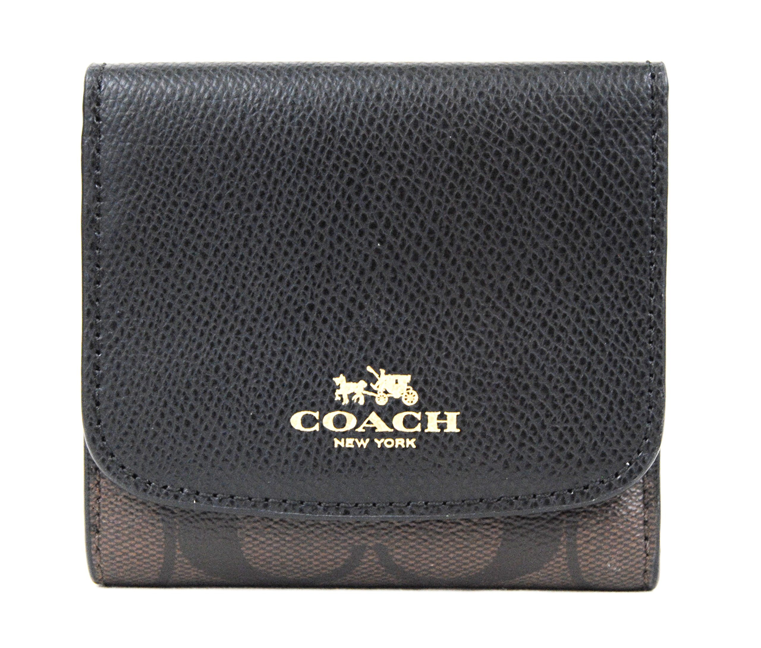 COACH Signature PVC Small Wallet Clutch (Brown/Black)