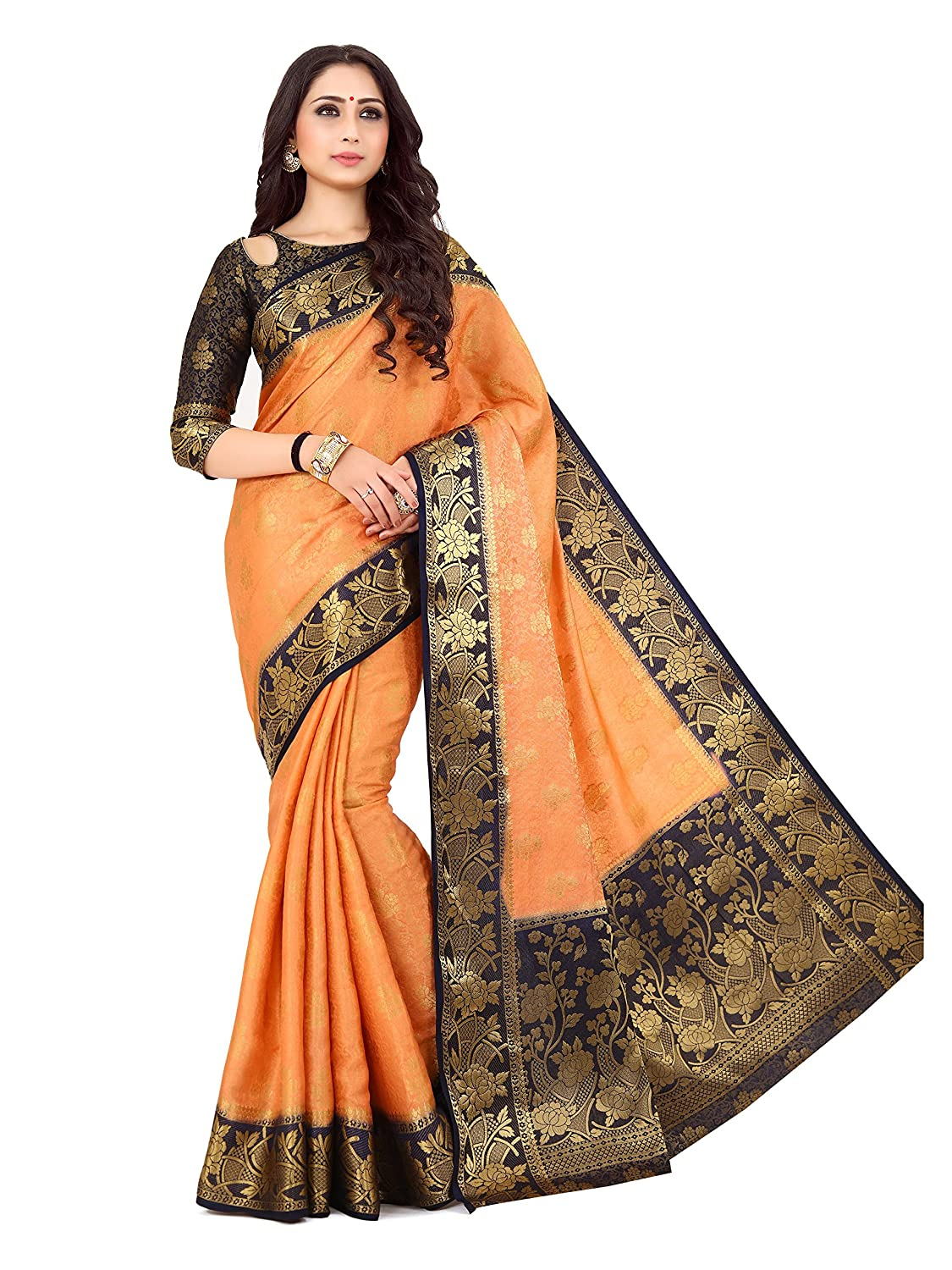1e43d2c1ba65ea Mimosa By Kupinda Women's Art Silk saree Kanjivaram Style Color : Peach  (4160-214-2D-PCH-NVY): Amazon.in: Clothing & Accessories