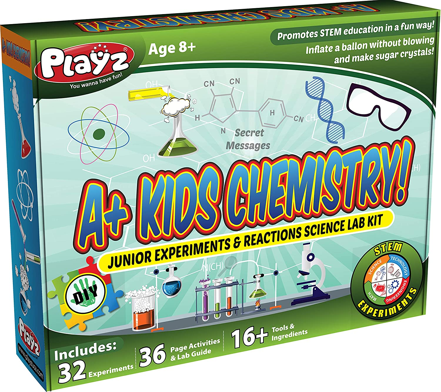 Playz STEM A+ Kids Chemistry Junior Experiments & Reactions Science Lab Kit