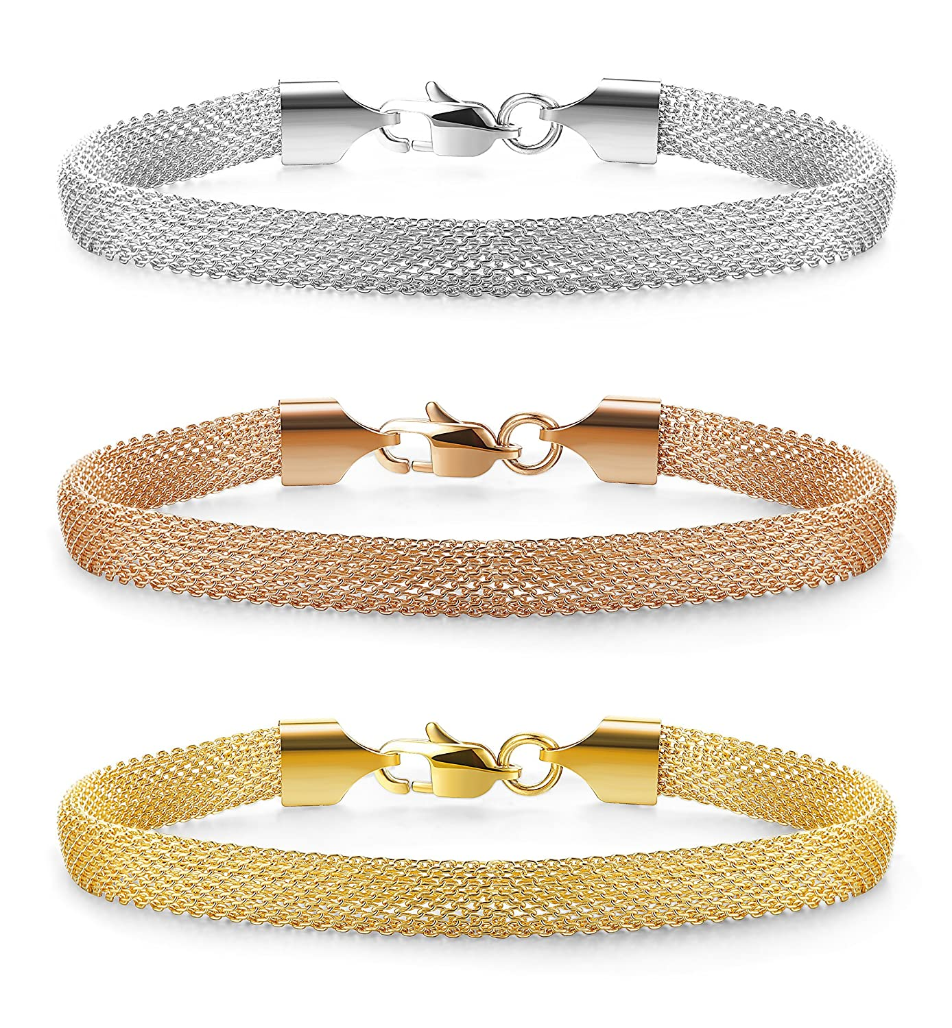 Jstyle Mesh Bracelet Stainless Steel Chain Link Bracelets for Women Girls Rose Silver Golden Tone 7-8 Inch B11571