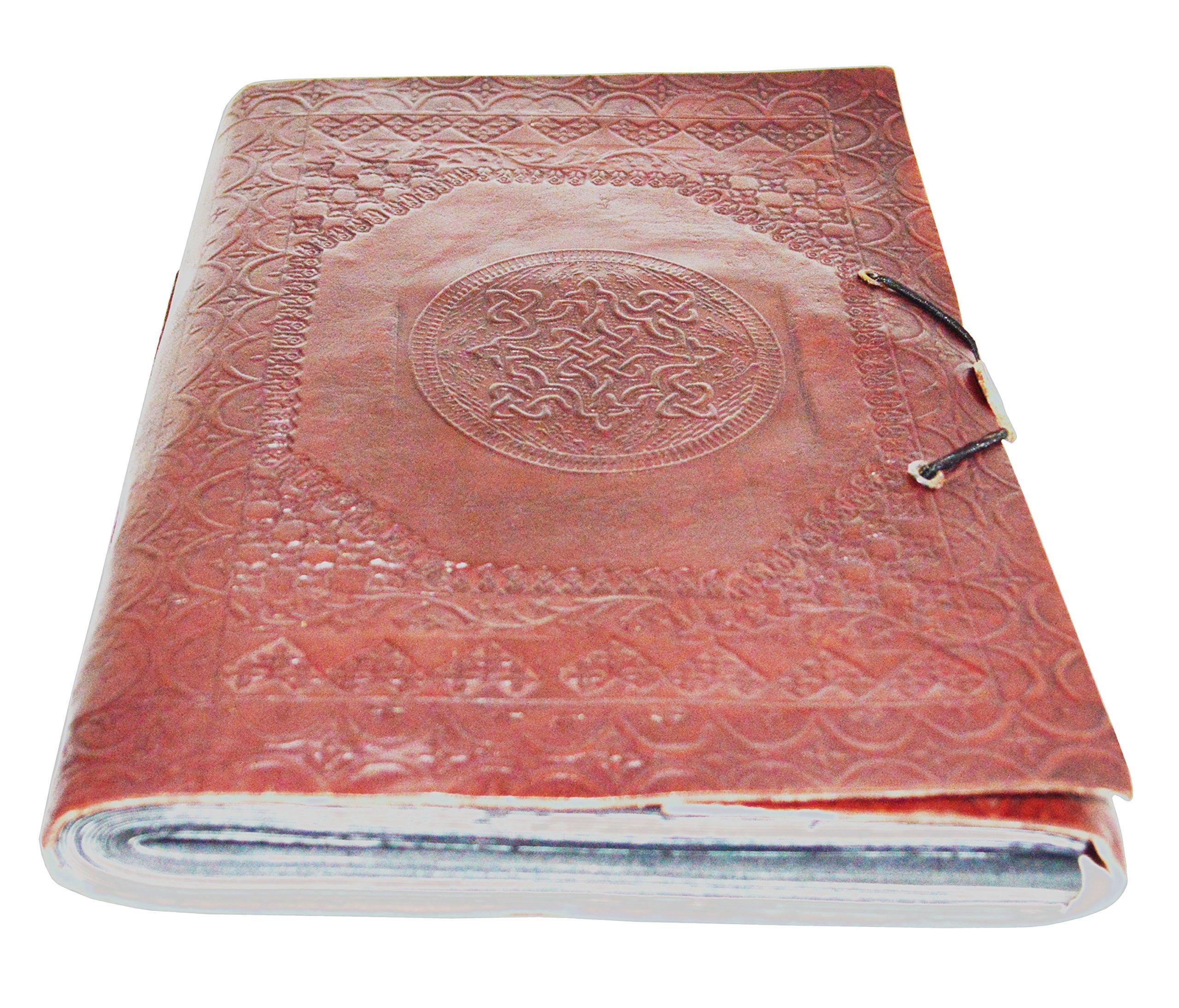 Zap Impex  Medium Celtic Leather Embossed Photo Album Black Cotton Paper Handmade