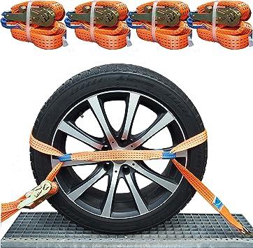 Ntg 4x 35mm Spanngurt Auto Transport Zurrgurt Radsicherung Pkw Reifengurt Auto