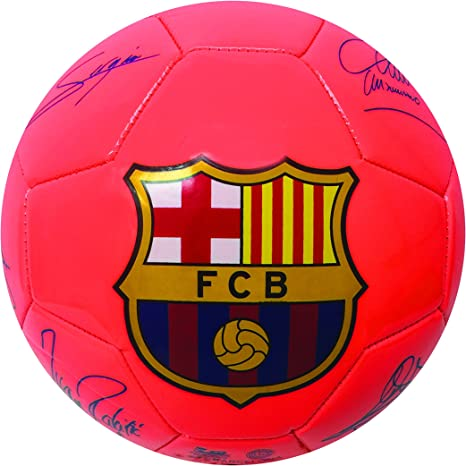 Fc Barcelona Players Signature Soccer Ball Neon Orange Color Size 2 And Size 4 Soccer Ball With The Signature Of Barcelona Players Included The Best Soccer Player Of The World Messi Size
