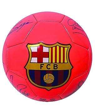 FC Barcelona jugadores firma balón de fútbol, naranja neón Color ...