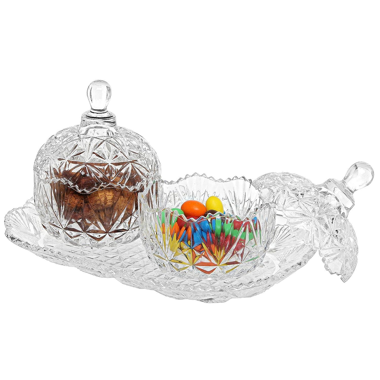 MyGift 3-Piece Clear Glass Crystal Design 8 oz Sugar Bowls Set & Tray/Decorative Candy Dishes