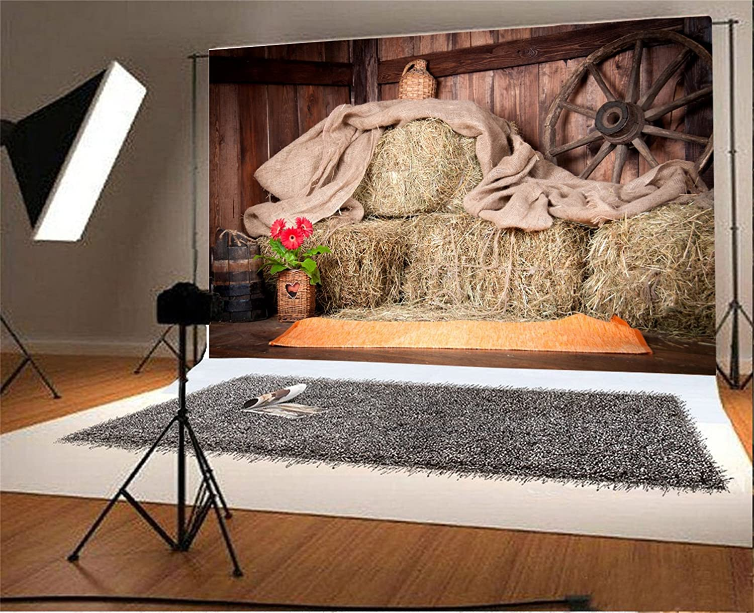 5x7ft Photography Backdrop Countryside Farmland Dusk Scene Blue Sky Golden Wheat Field Straw Bales Colourful Autumn Agriculture Background Artistic Protrait Photo Studio Props Vinyl