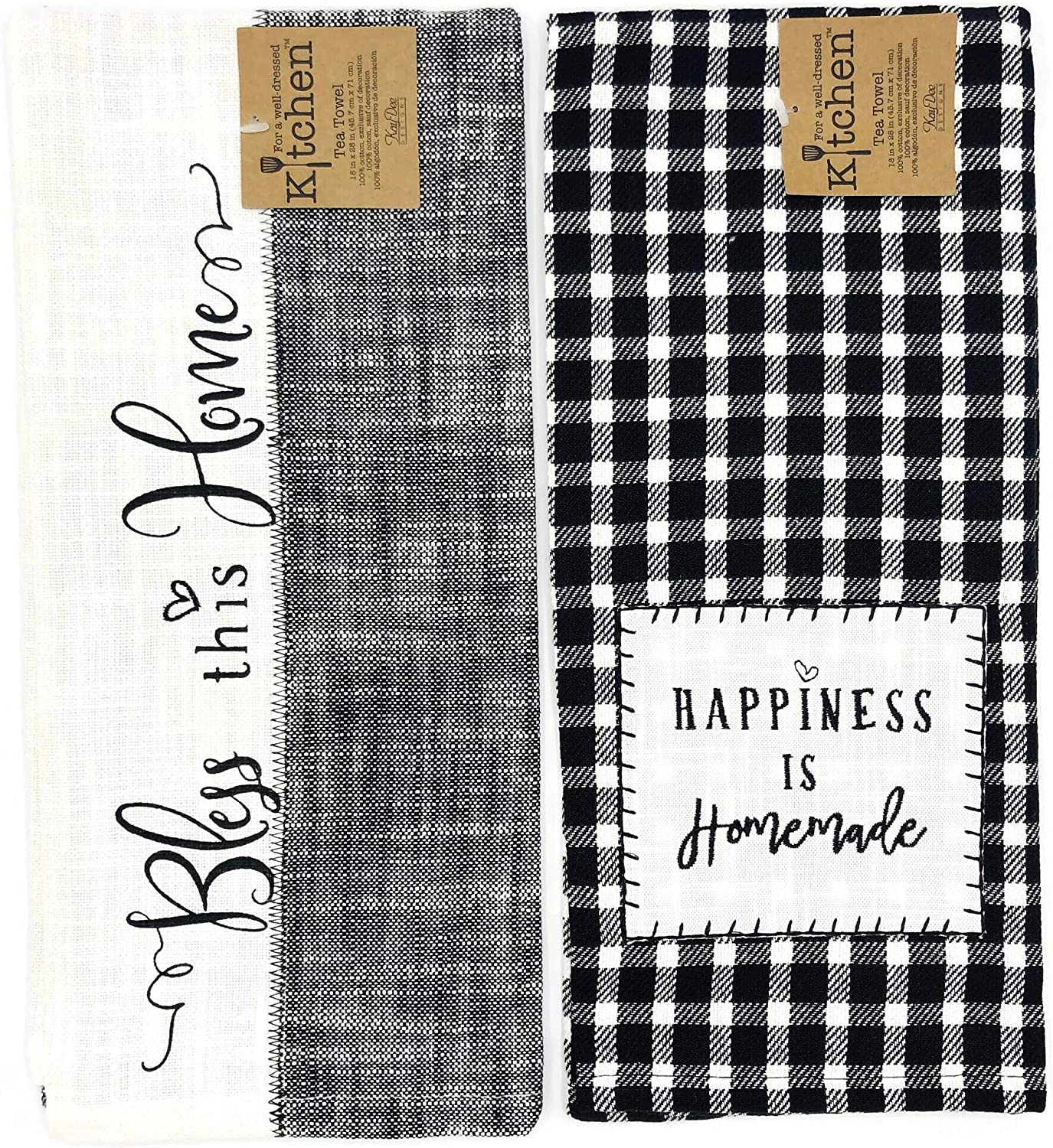 Kay Dee Designs Farmhouse, Happiness is Homemade & Bless This Home Tea Towel Kitchen Dishtowel Set, Classic Flat Tea Towel Ideal for Drying Glassware and Everyday Kitchen Tasks