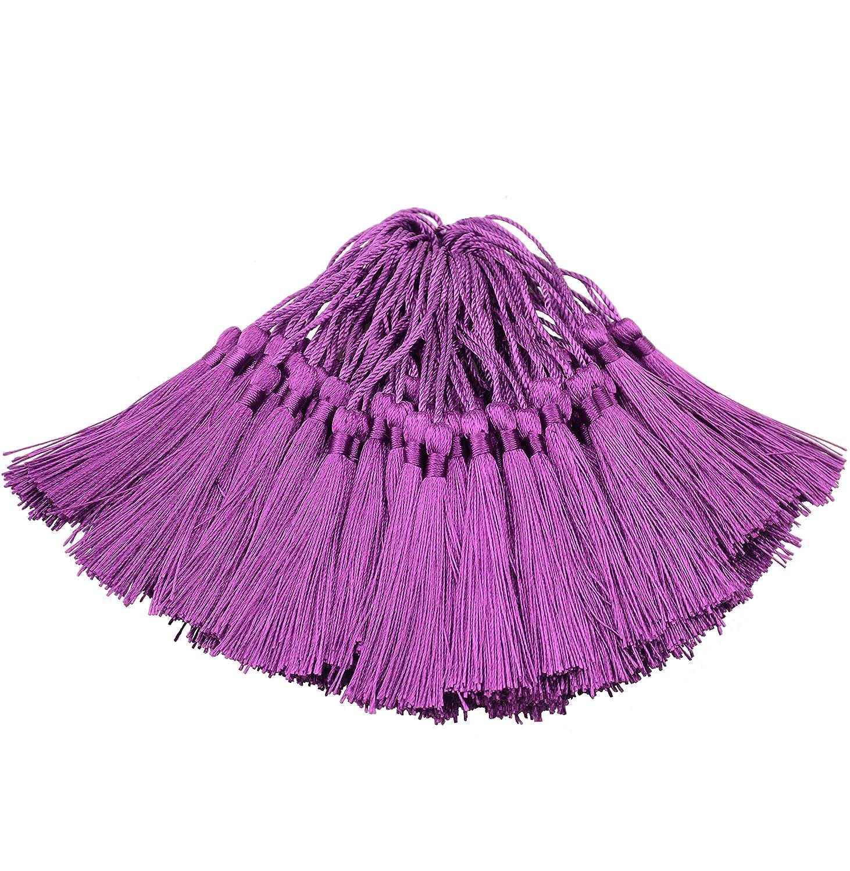 Makhry 100pcs 13cm/12,7cm Silky Floss Bookmark Tassels con 5,1cm cavo loop e piccolo nodo cinese per fare gioielli, souvenir, segnalibri, di fai-da-te Cream