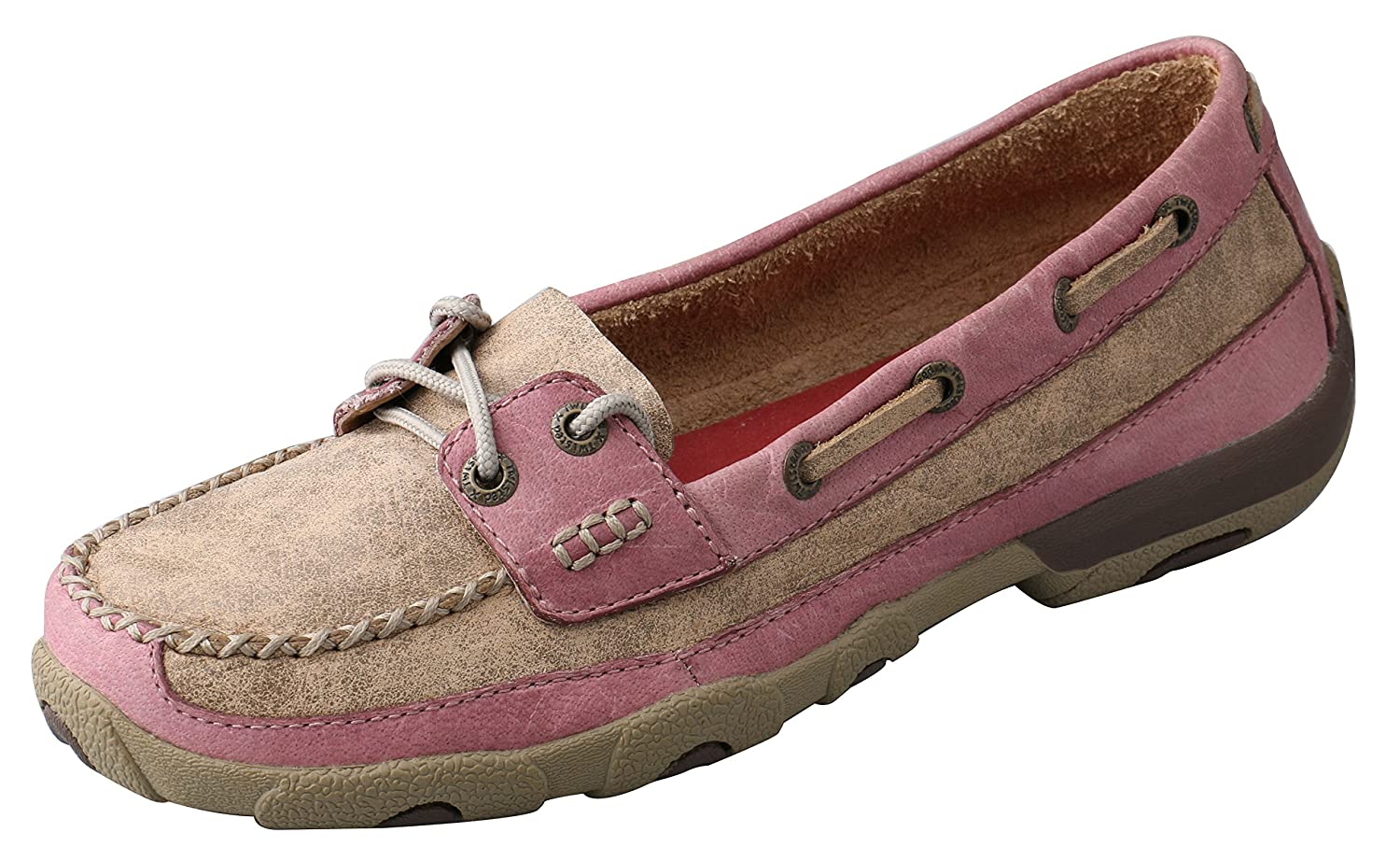 Twisted X Women's Leather Lace-up Rubber Sole Driving Moccasins - Bomber/Pink B00INZJTME 5.5|Brown