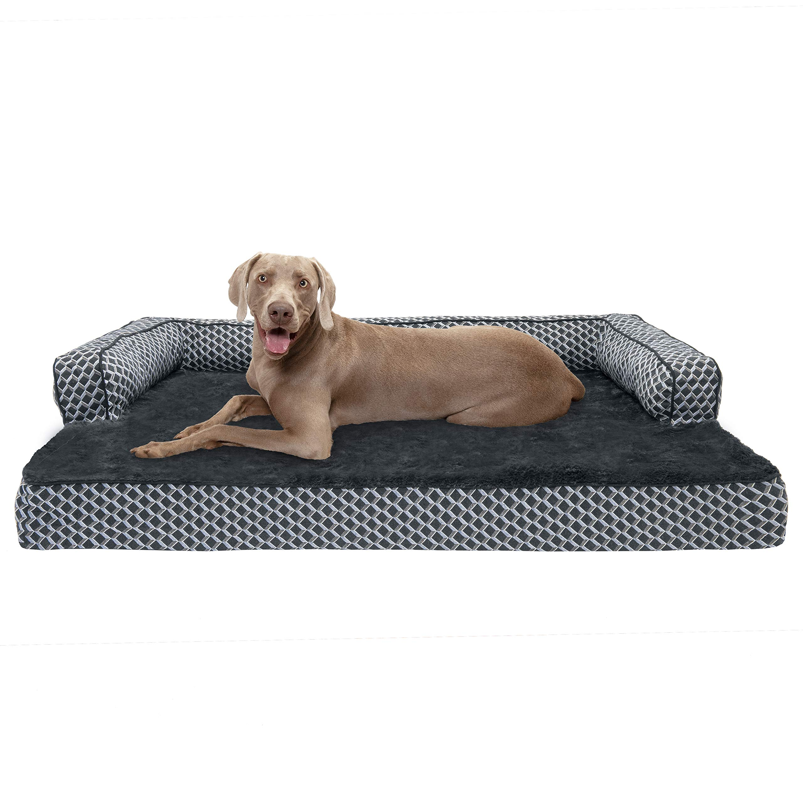 Furhaven Pet Dog Bed | Memory Foam Plush Faux Fur & Décor Comfy Couch Sofa-Style Living Room Couch Pet Bed for Dogs & Cats, Diamond Grey, Jumbo Plus