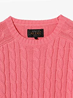 Cotton Cable Crewneck Sweater 11-15-1160-103: Pink