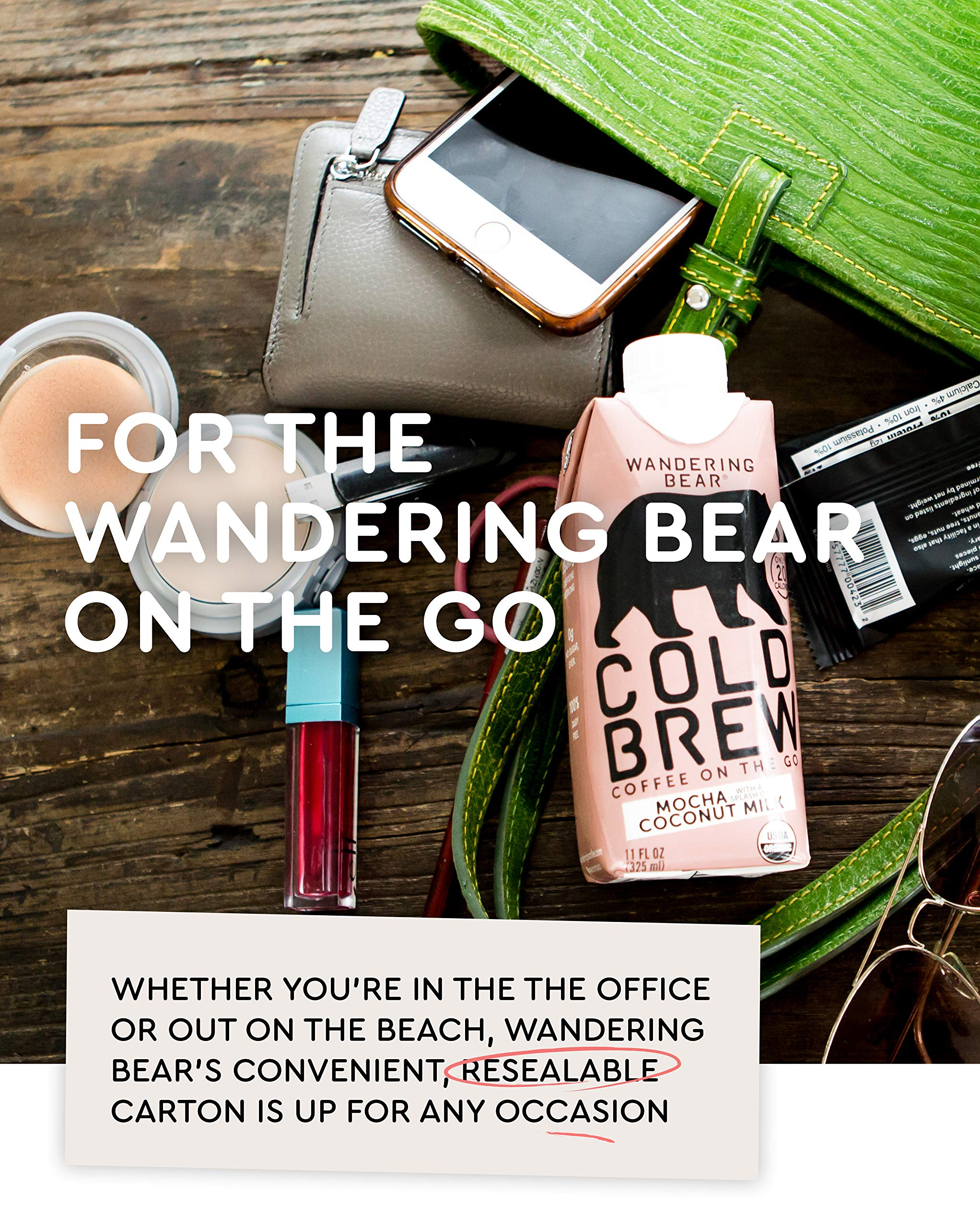 Wandering Bear Organic Cold Brew Coffee On-the-Go 11 oz Carton, Mocha With Splash of Coconut Milk, No Sugar, Ready to Drink, Not a Concentrate (Pack of 12) by Wandering Bear (Image #6)