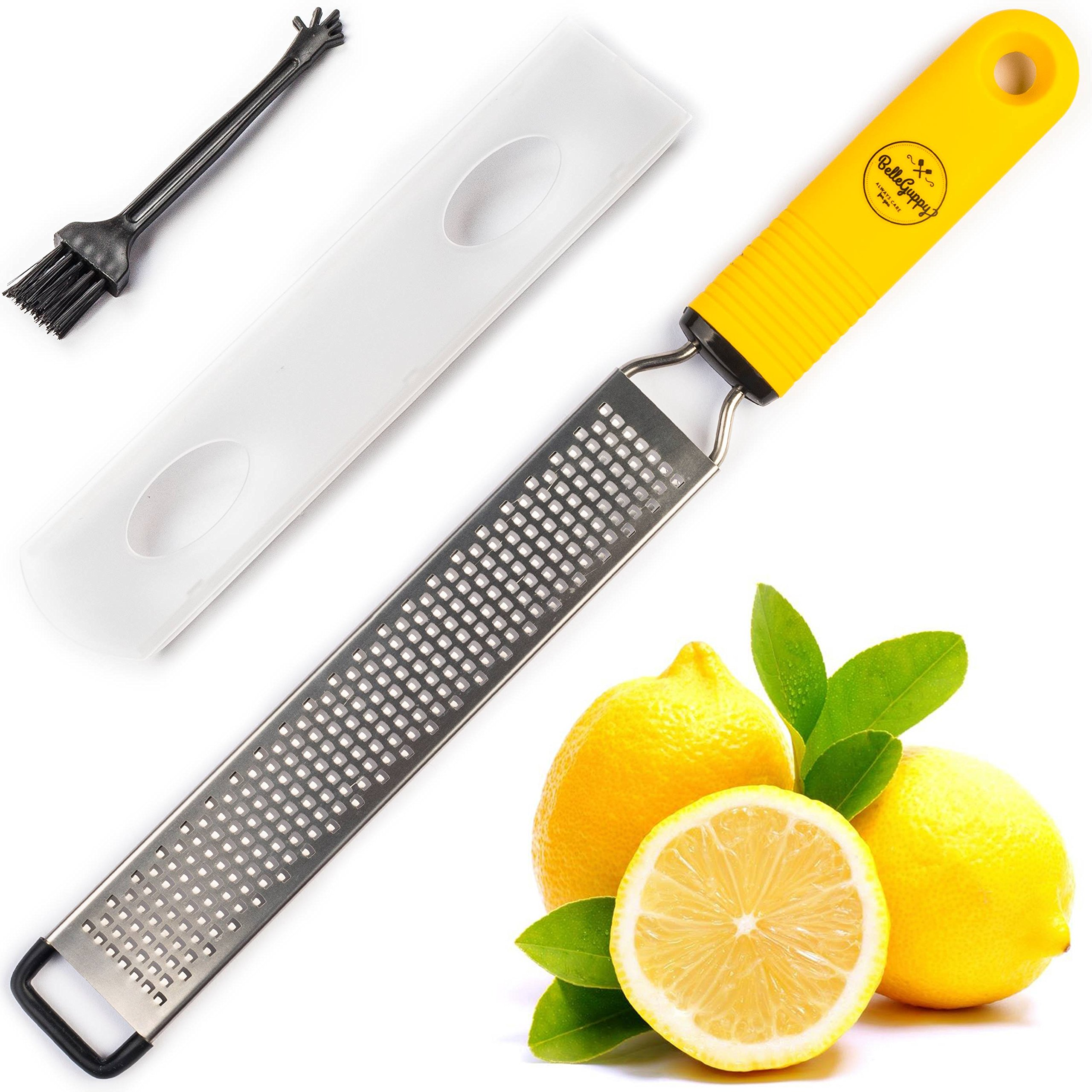 Lemon Zester & Cheese Grater Stainless Steel – Antibacterial Cover Blade, Ergonomic Non-Slip Silicone Handle, Professional Zesting Tool, BONUS Cleaning Brush (yellow lemon) by BelleGuppy