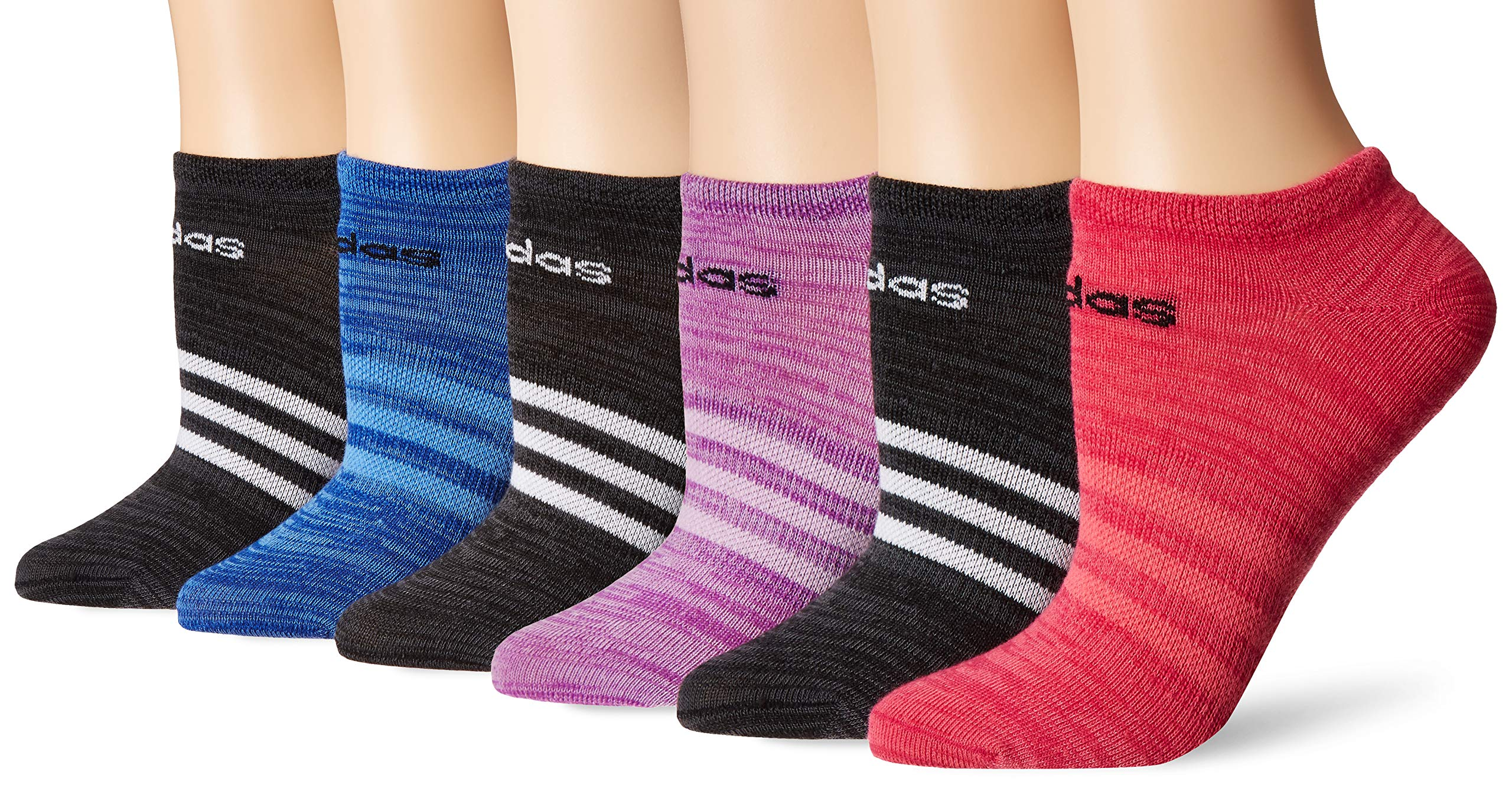 adidas Superlite No Show Socks (6 Pack), Black-Grey Six Space Dye/White by adidas