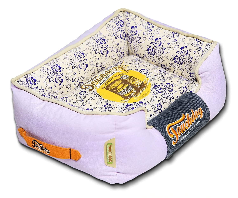 Lavender Purple, bluee, Beige LG Lavender Purple, bluee, Beige LG TOUCHDOG 'Floral-Galoral' Vintage Printed Ultra-Plush Rectangular Fashion Designer Pet Dog Bed Lounge, Large, Lavender Purple, bluee, Beige