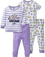 Gerber Baby Girls' 4 Piece Cotton Pajama Set