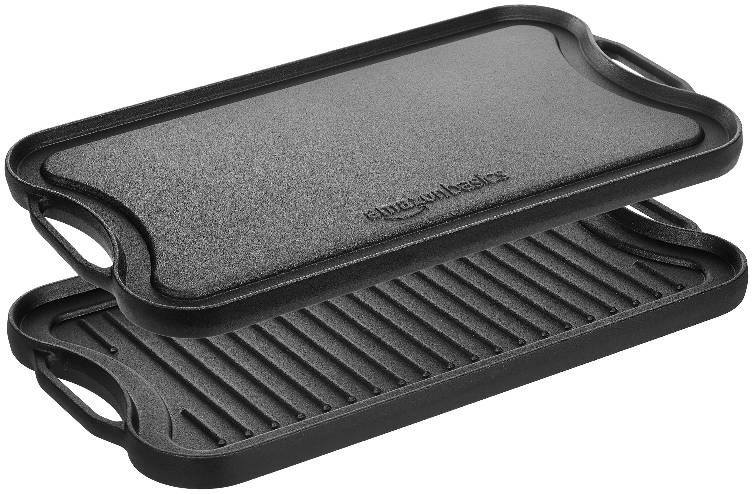 AmazonBasics Pre-Seasoned Cast Iron Reversible Grill/Griddle -(5204)