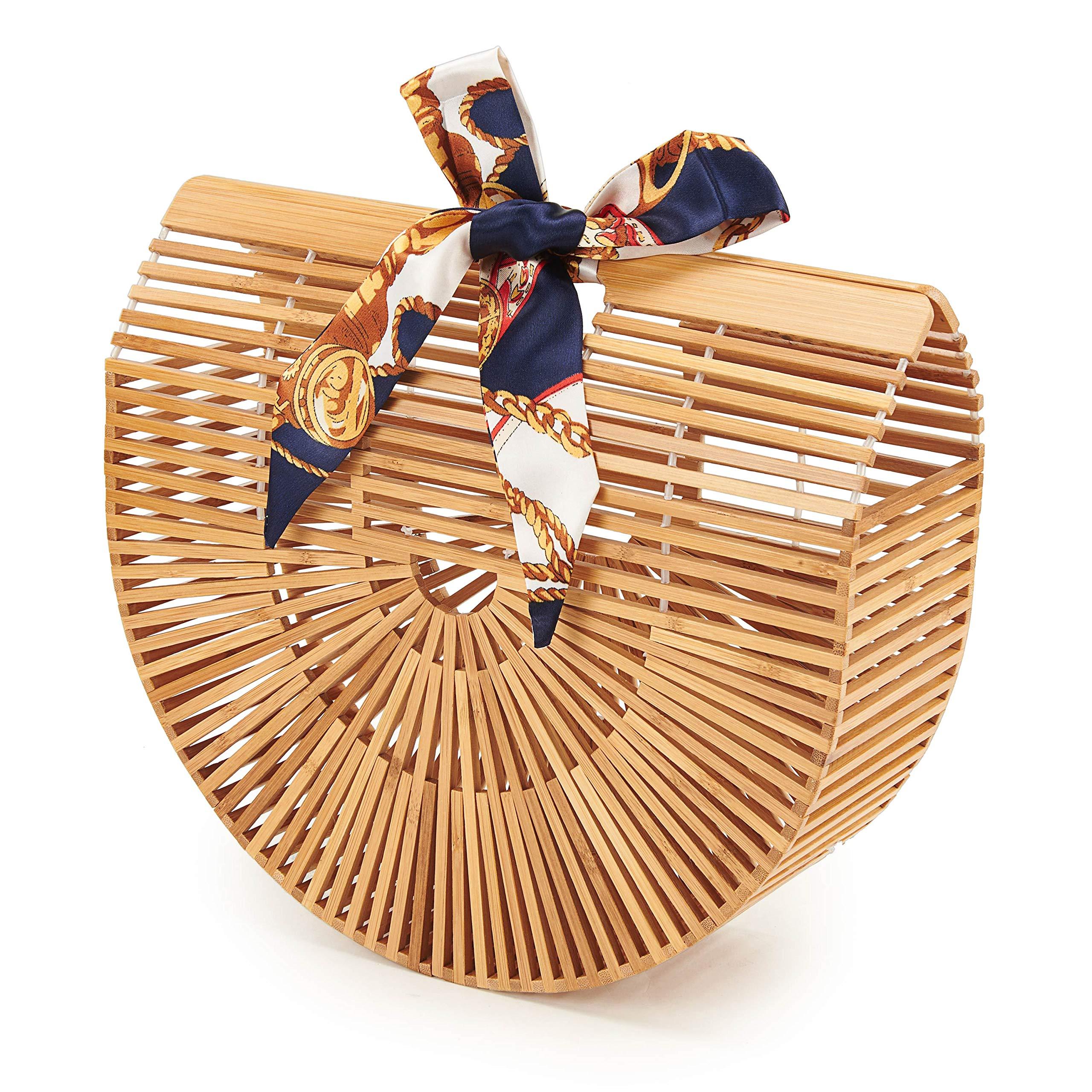USBAGTECH Women Bamboo Handbag Handmade Art Tote Purse Handle Straw Beach Clutch