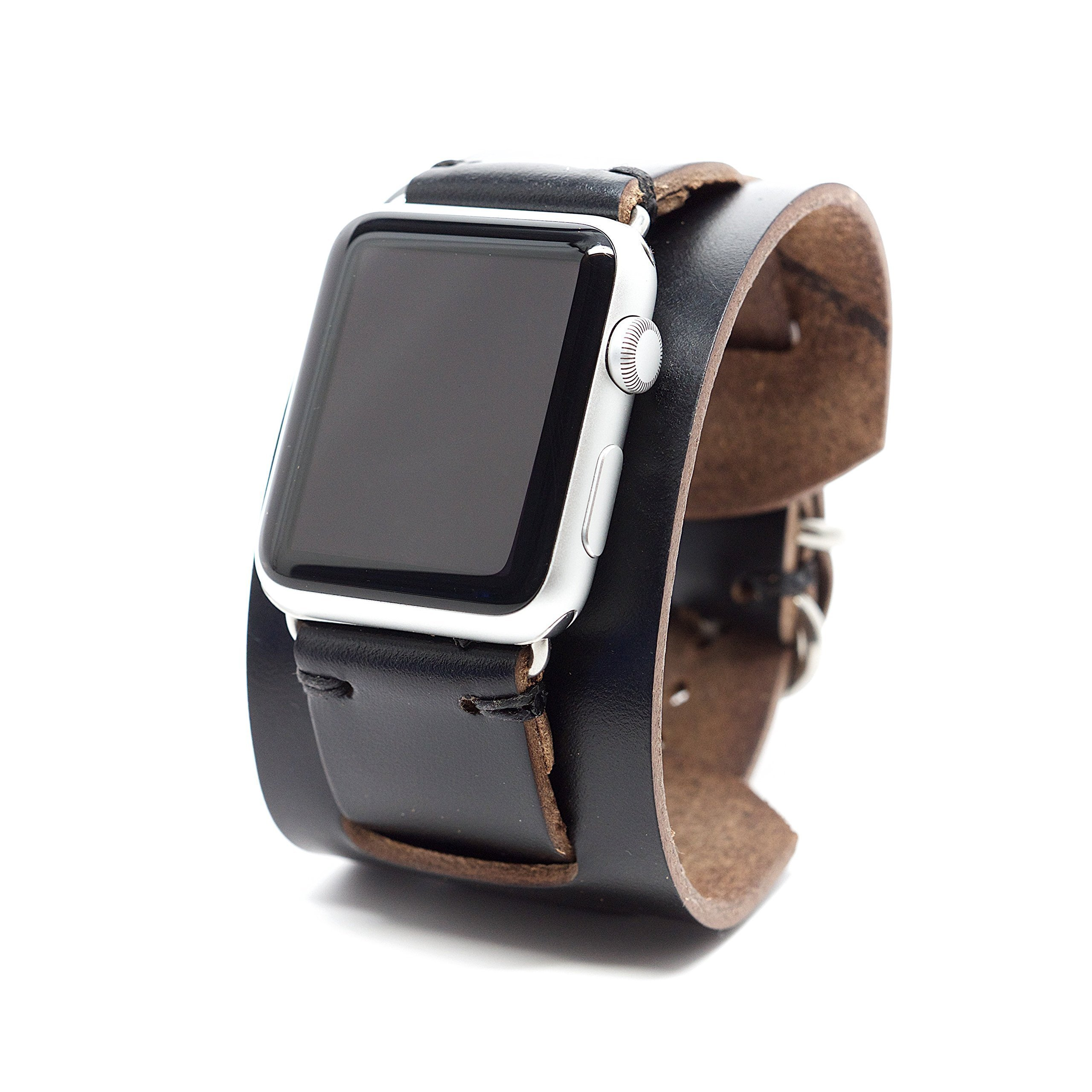 Apple Watch Band Leather Cuff Strap by E3 Supply Co. - Black Chromexcel