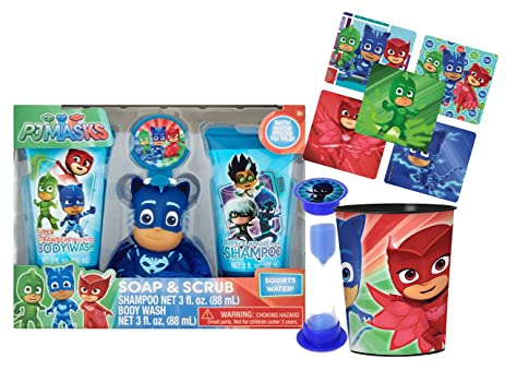 PJ MASKS 6pc Wash Buddy Bath Set! Shampoo, Body Wash, Bath Hook,