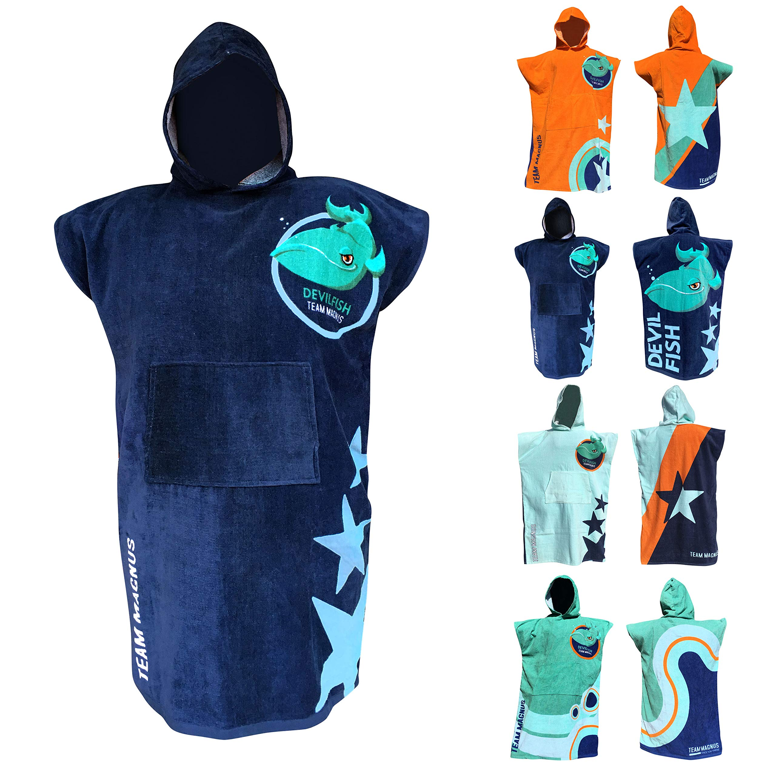 TEAM MAGNUS Towel and Bathrobe - Stylish Bath Towel Design in 4 Cool Colors - one Size for Kids 4'-5'6'' (Navy)