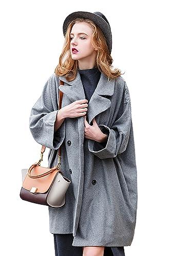 Chaqueta de lana suelta de lana para mujer Oversize Diseñado chaqueta larga para el otoño de primavera por You.U
