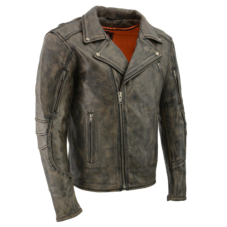 First MFG Men/'s Lightweight Long Sleeve Leather Motorcycle Black Shirt FIM403ES