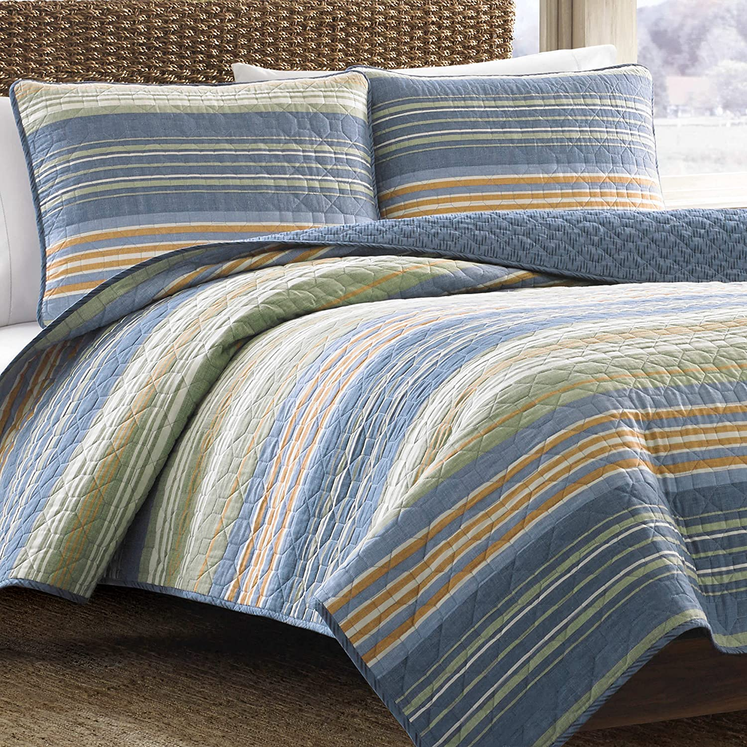 Eddie Bauer Home   Yakima Collection   Bedding Set-100% Cotton Light-Weight Quilt Bedspread, Pre-Washed for Extra Comfort, King, Green