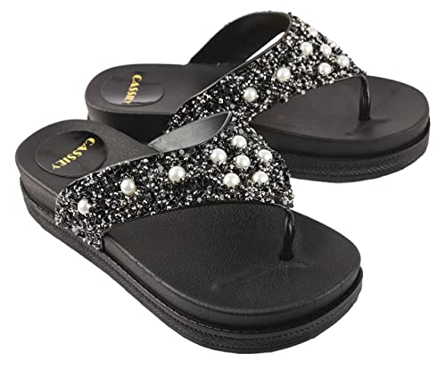 a0390152081bd3 Irsoe Cassiey Women Black Flip Flop and Fashion Slippers Stones Beautiful  Comfortable Sole Wedges  Buy Online at Low Prices in India - Amazon.in