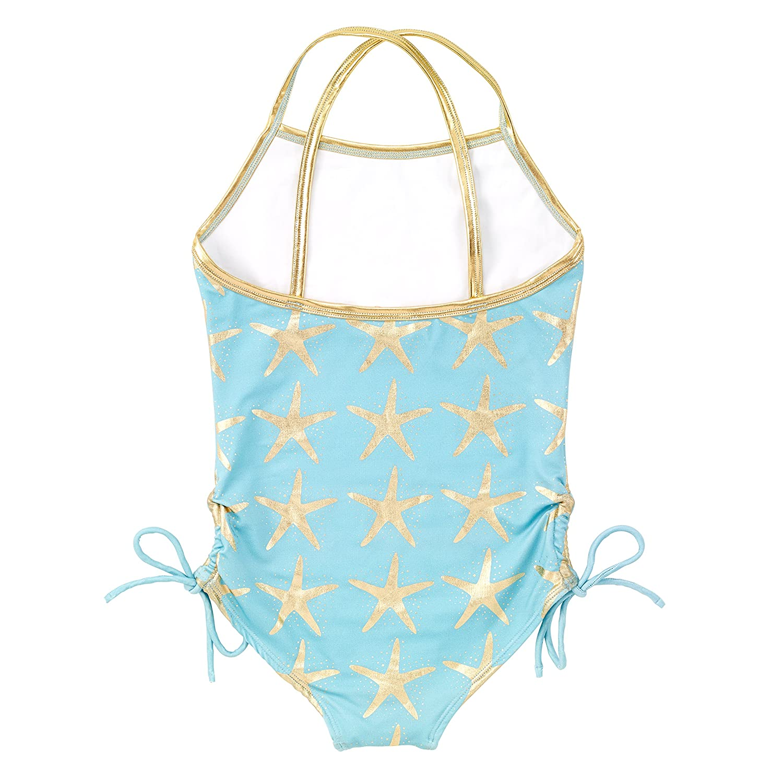Masala Kids Little Girls Crossback One Piece Starfish Turquoise
