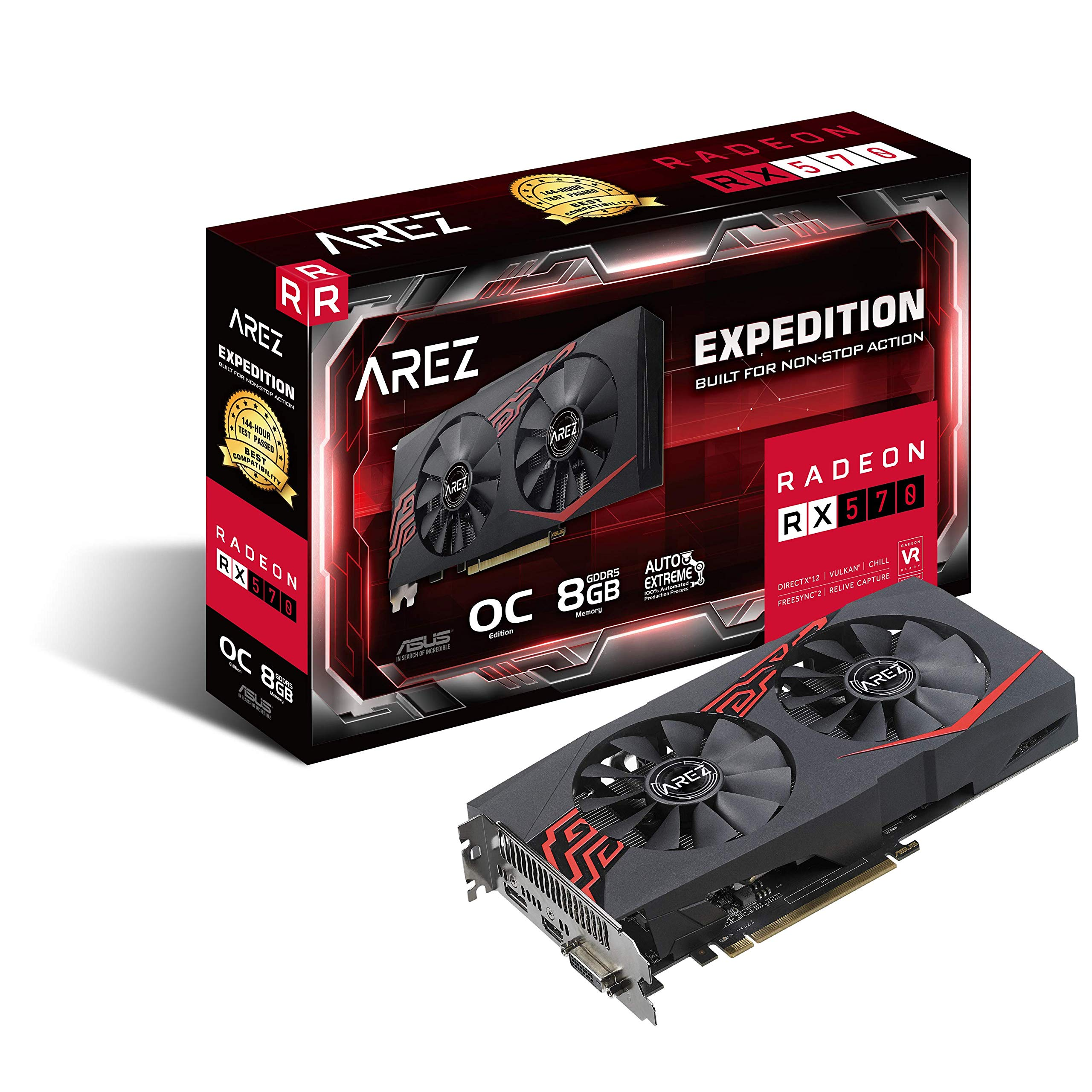 ASUS Expedition Radeon RX 570 8GB OC Edition Gaming GDDR5 DP HDMI DVI VR Ready AMD Graphics Card (EX-RX570-O8G)