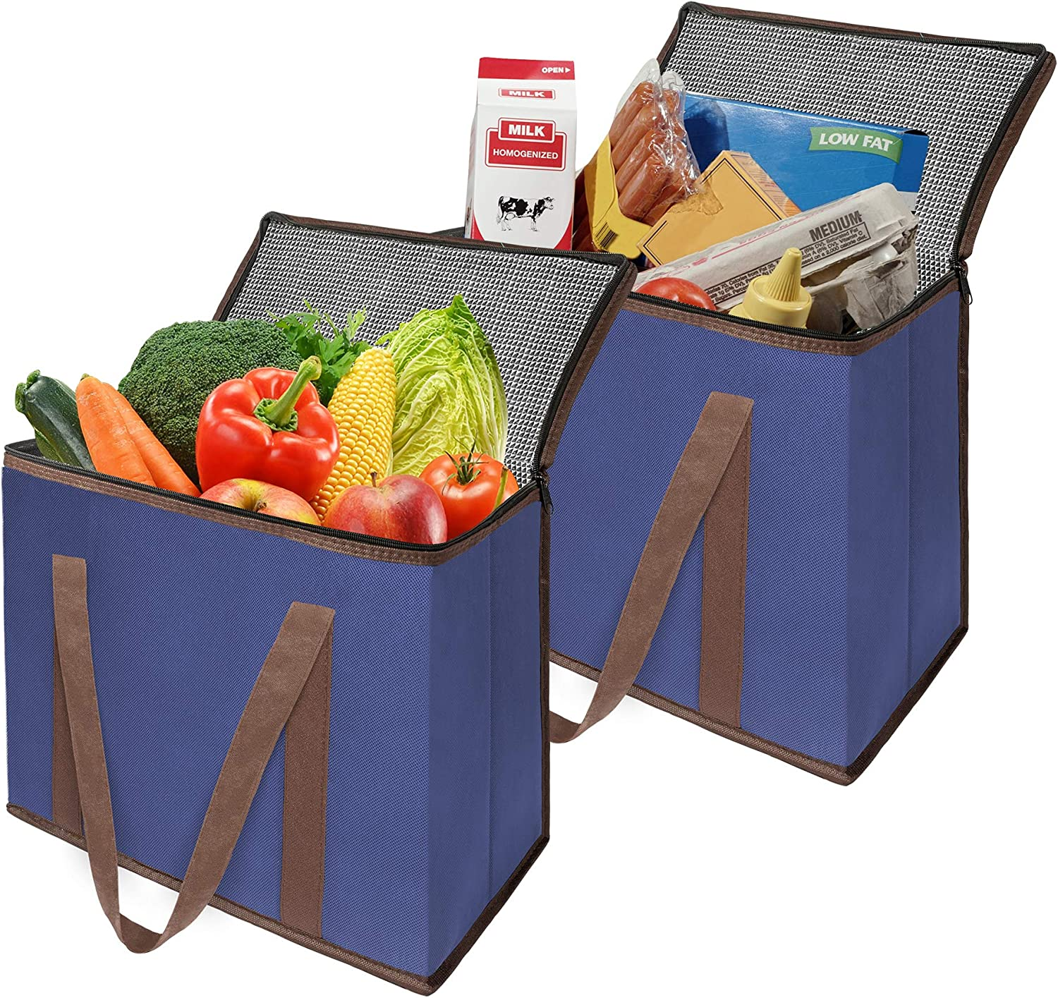 Spogears Reusable Insulated Grocery Bag with Zippered Top Set of 2 X- Large Heavy Duty Insulated Shopping Cooler Bags for Food Transport or Delivery for Hot and Cold Food Items