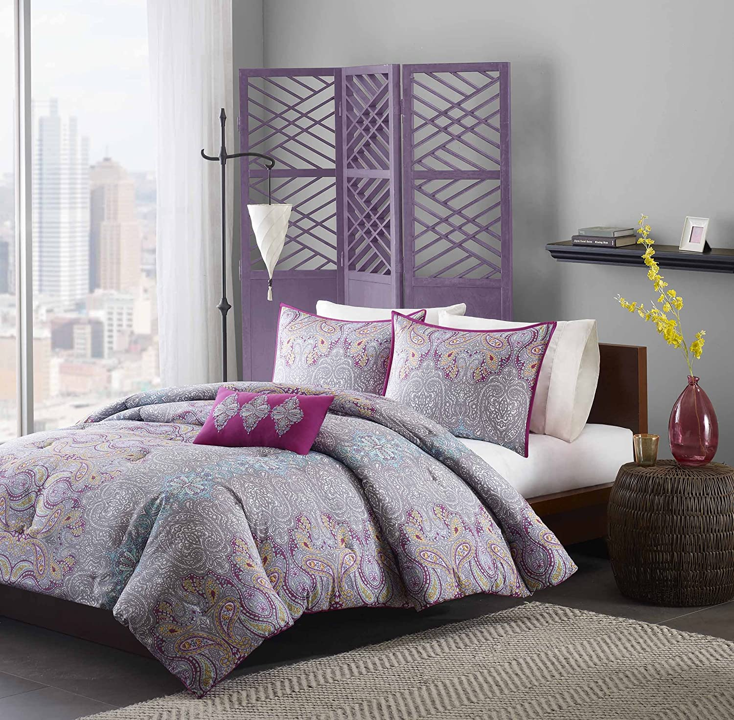 for comforter set purple bed bedding light teen sets