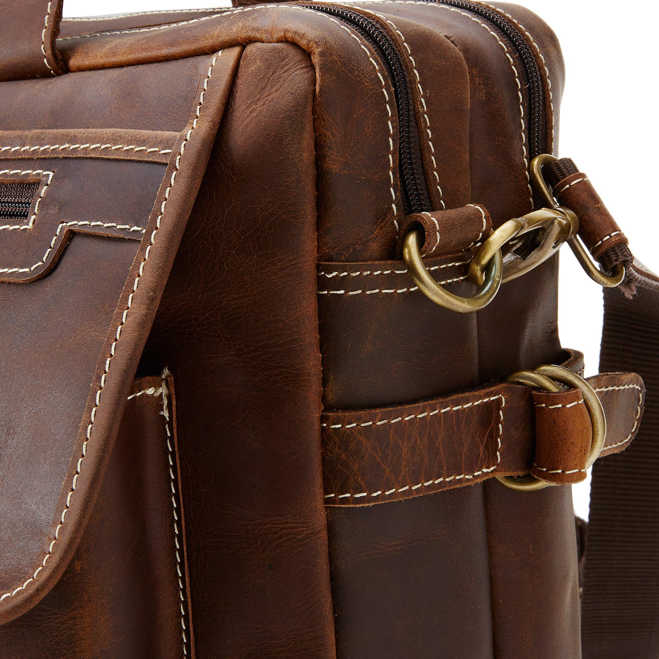 16 inch Vintage Buffalo Leather Messenger Satchel Laptop Briefcase Men's Bag Crazy Vintage Leather Messenger (Brown) by Ruzioon (Image #3)