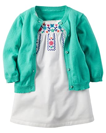 6e438435f39e Amazon.com: Carter's Baby Girls Floral Embroidered Dress and Cardigan Set  (6M): Clothing
