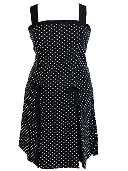 42f5530ea63 Plus Size Black White Polka Dot Rockabilly Retro 50 s Pin Up Bow Summer  Dress (1X
