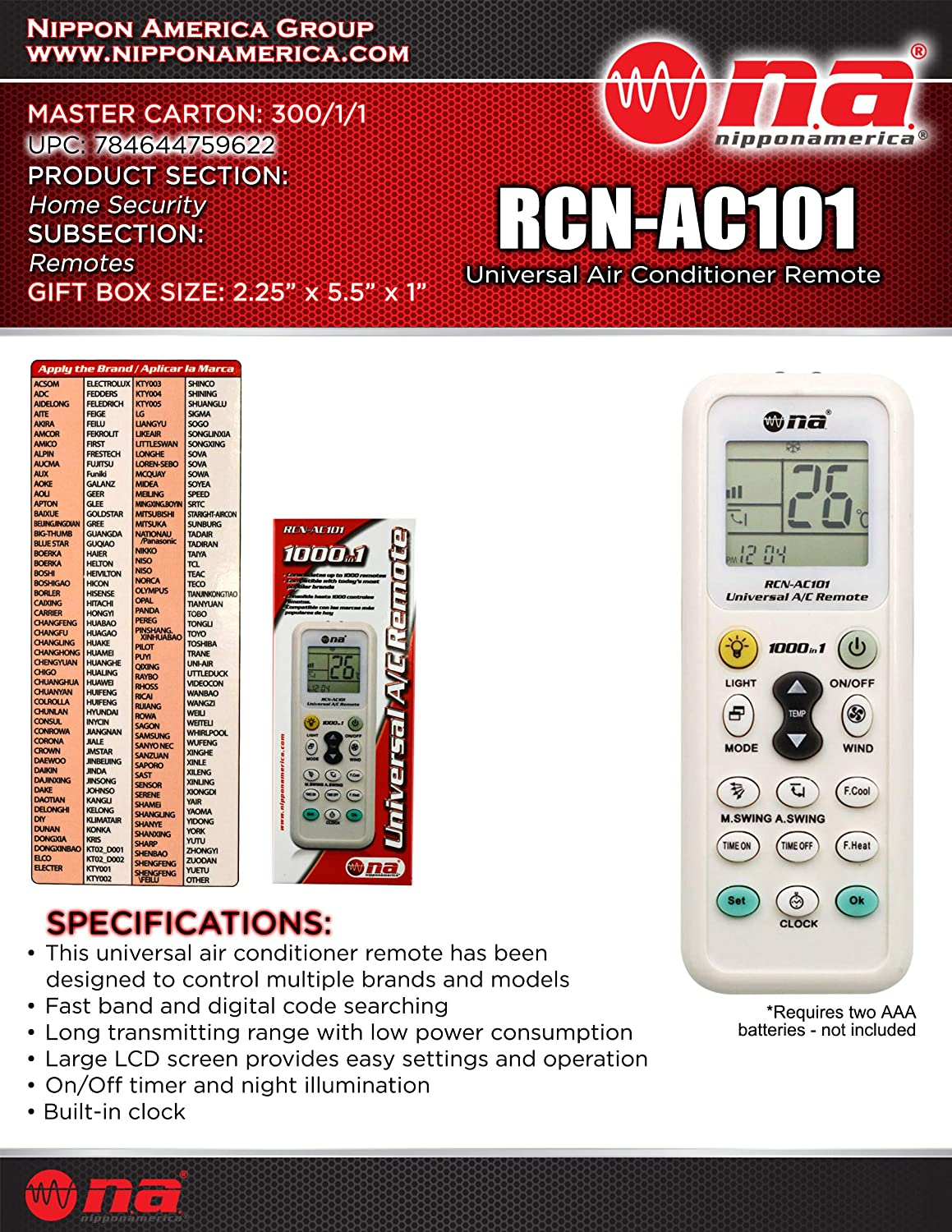 Universal Air Conditioner Remote Control for Daikin, Hitachi, Carrier, Panasonic, LG, Sharp, Haier, Gree, Midea, Whirlpool, Bosch, Olympus, Toshiba, Samsung and 1000 More Brands