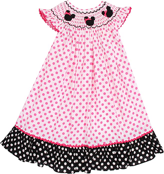 Amazon.com: Babeeni Baby Girls Smocked Dress Minnie Mouse (2Y): Clothing