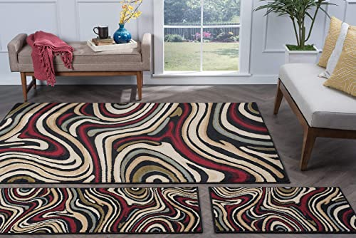 Tayse Riverside Black 3 Piece Area Rug Set