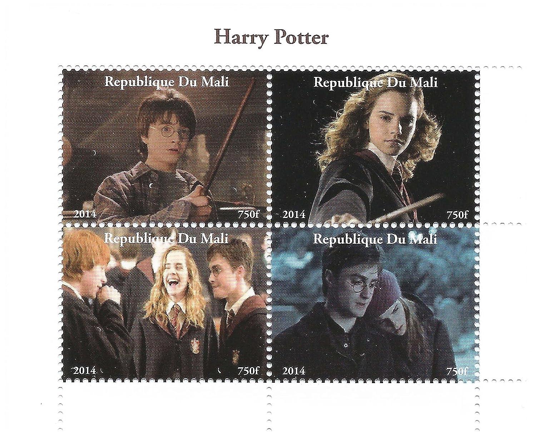 Stampbank Harry Potter film 2014 feuille de timbres pour les collectionneurs avec Harry, Ron et Hermione Granger - 4 timbres/Mali Stamps by Stampbank