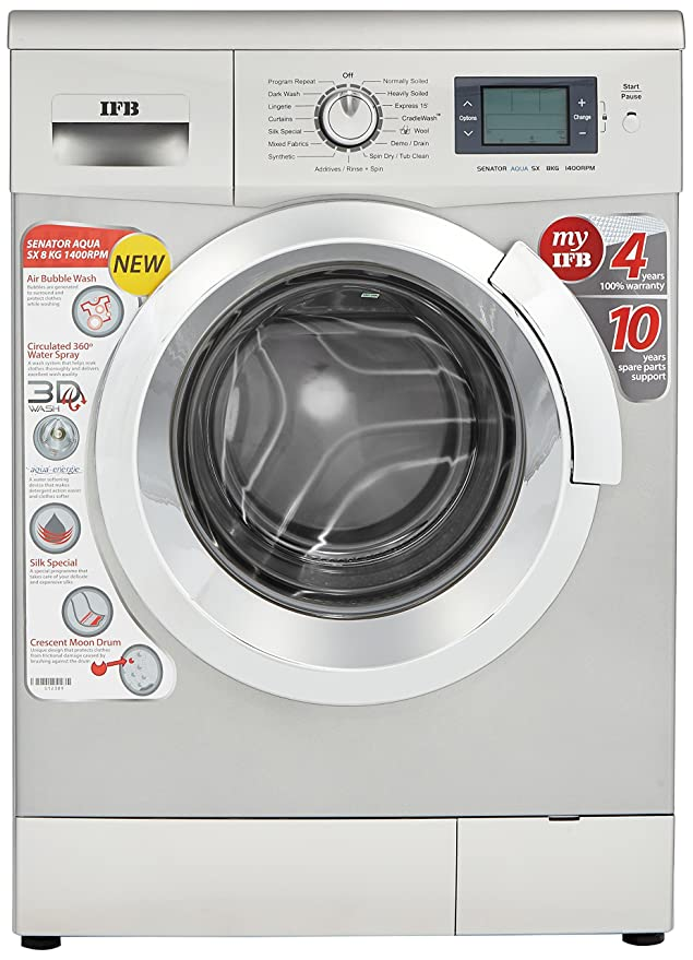 Attractive Ifb Front Door Washing Machine Part - 13: IFB 8 Kg Fully-Automatic Front Loading Washing Machine (Senator Aqua SX,  Silver): Amazon.in: Home U0026 Kitchen