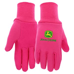 West Chester John Deere JD00003 Jersey Gloves - 10 oz Jersey Gloves for Youth, Ribbed Knit Wrist, Polyester/Cotton Fabric, Straight Thumb, Pink, JD00003-Y