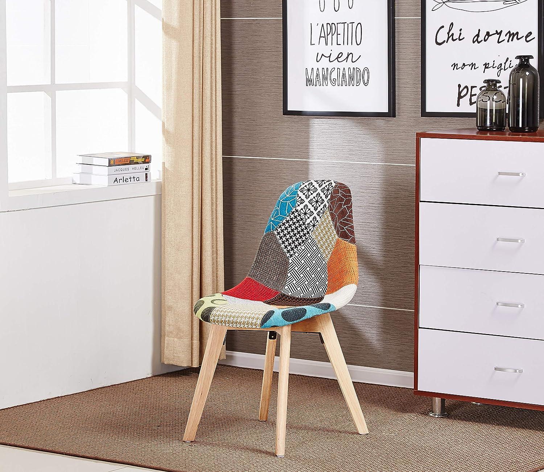 P&N Homewares - Chaise en Tissu à Imprimé Patchwork - Design Scandinave - Salle à Manger, Salon, Bureau - Style Rétro & Tendance (1)