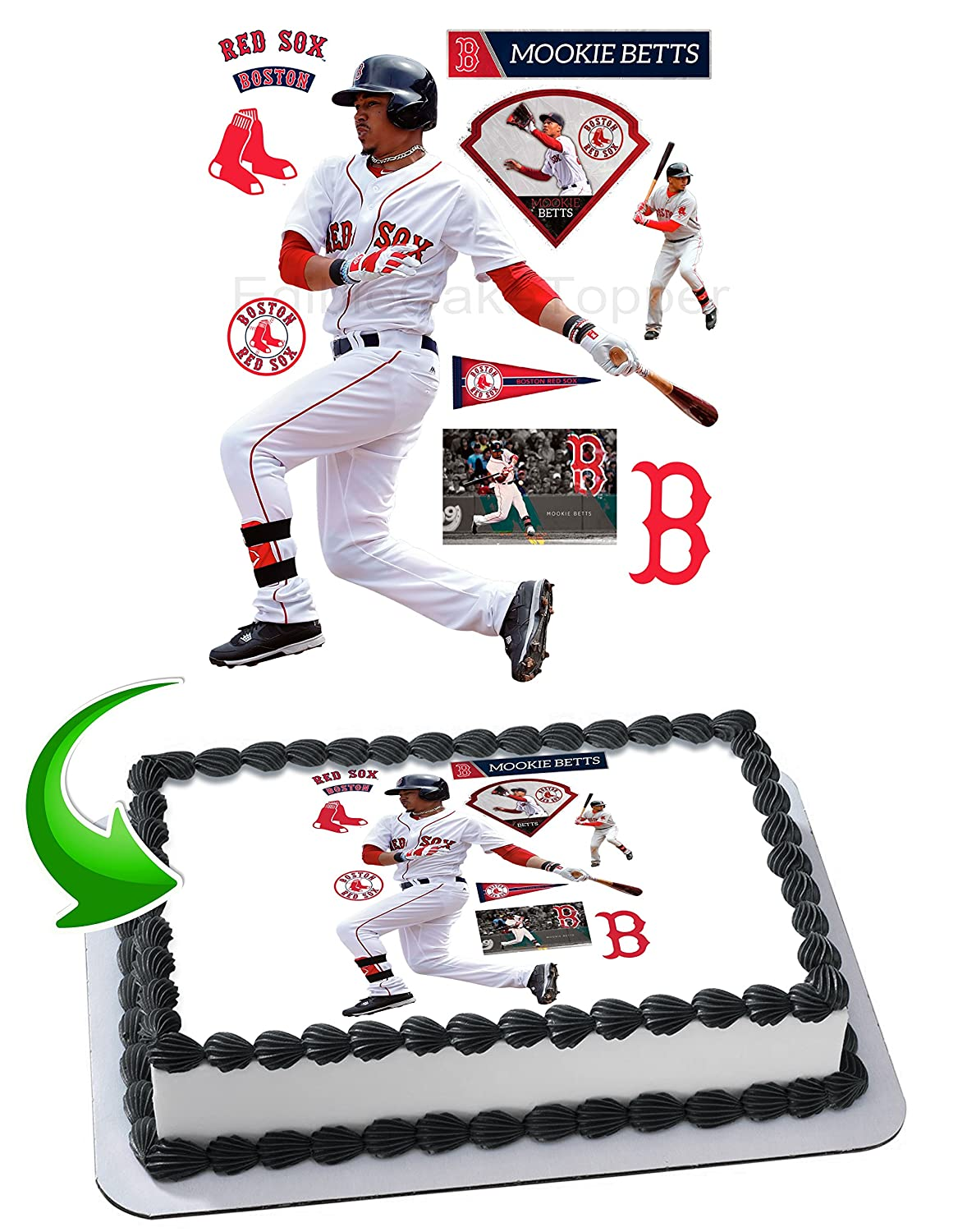 Mookie Betts Boston Red Sox Edible Image Cake Topper Icing Sugar Paper A4 Sheet Frosting Photo 1 4 Best For Amazon