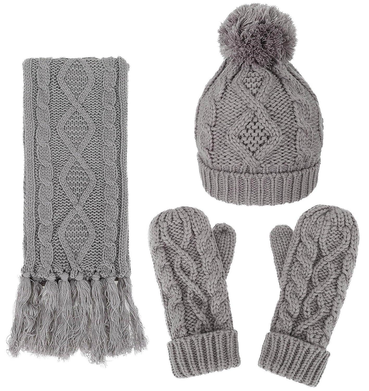 cd7dc73f6f99b Amazon.com  Women s Winter Warm 3PC Cable Knit Gloves Scarf Beanie Hat Set