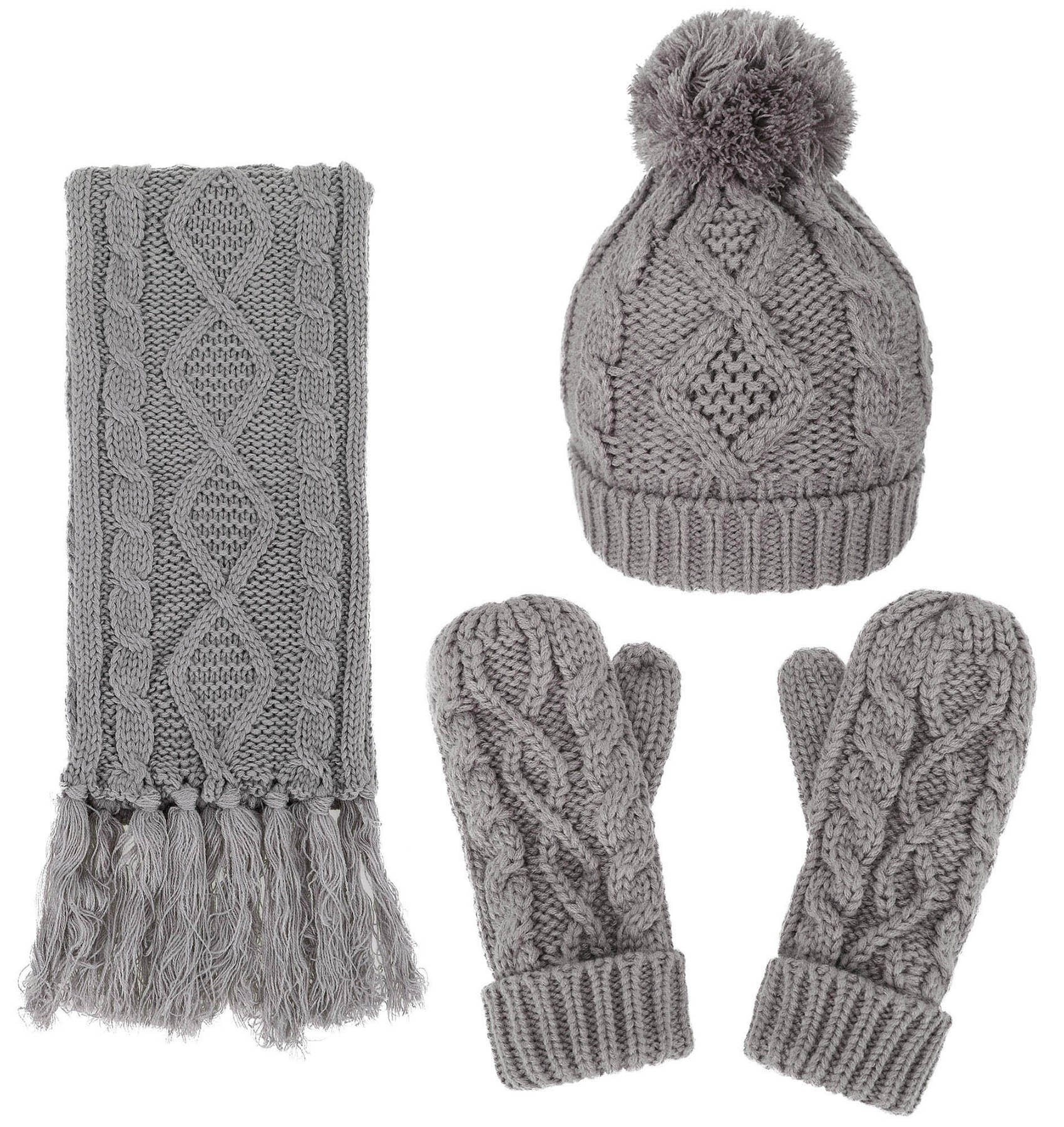 Women's Winter Warm 3PC Grey Cable Knit Gloves Scarf Beanie Hat Set