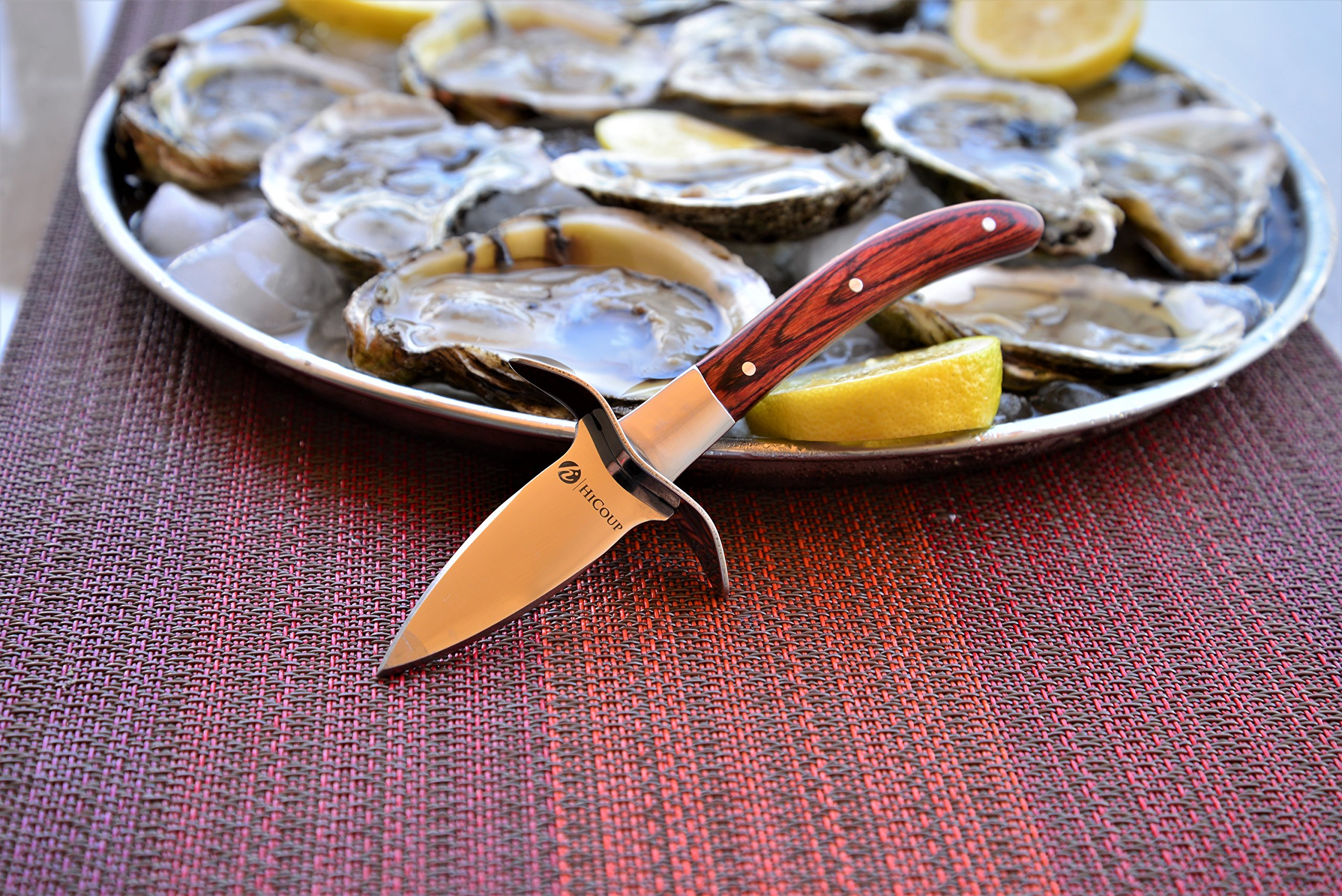 """Oyster Knife By HiCoup – Premium Quality Pakka Wood-handle Oyster Shucking Knife with """"Full Tang"""" Blade and Bonus Sheath by HiCoup Kitchenware (Image #5)"""